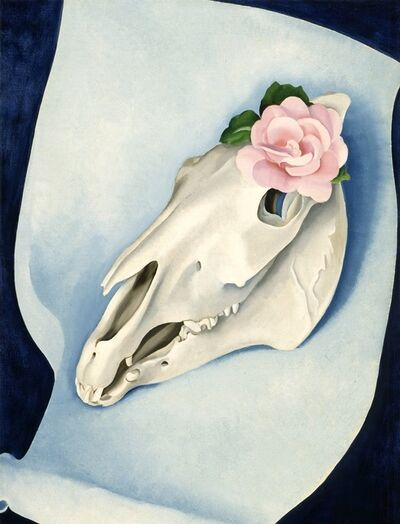 Georgia O'Keeffe, 'Horse's Skull with Pink Rose', 1931