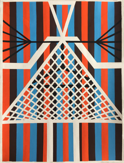Jill Levine, 'Untitled (Netted triangle with Orange, Brown and Blue Stripes)', 2018