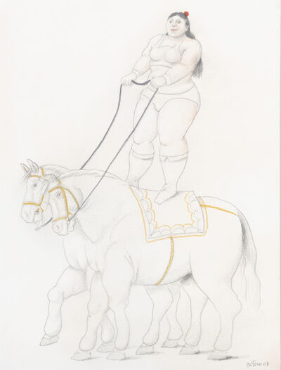 Fernando Botero, 'Woman on two horses', 2007