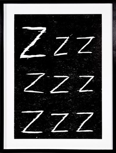 David Shrigley, 'David Shrigley, Zzz...,Woodcut, 2005', 2005