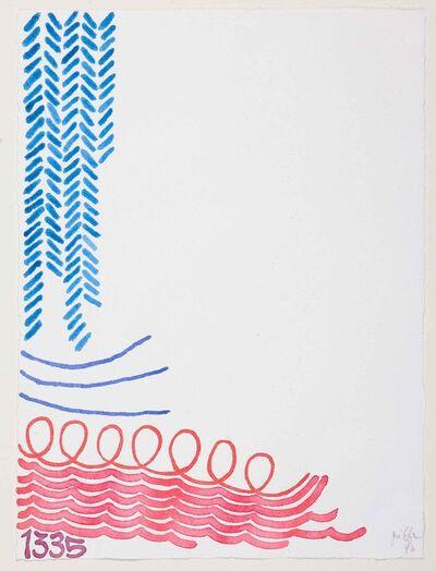 Giorgio Griffa, 'TRE LINEE CON ARABESCO N. 1335', 1994