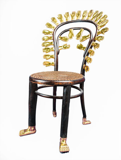 Pedro Friedeberg, 'silla manos oro', 2018