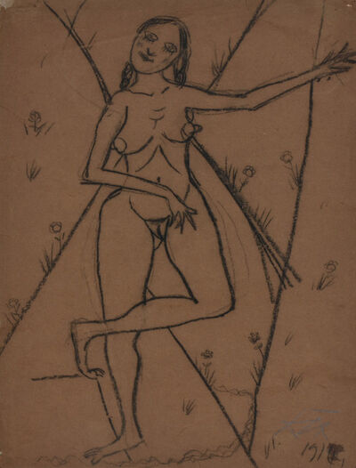 Otto Dix, 'STEHENDES MÄDCHEN', 1914