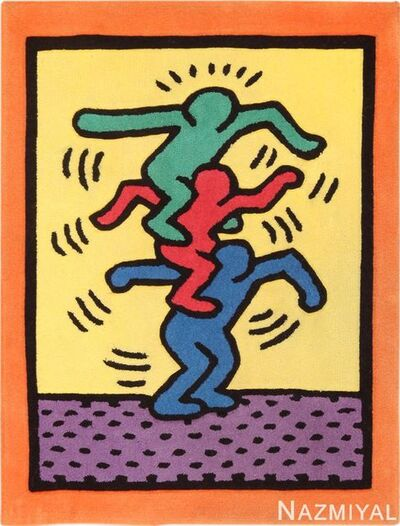Keith Haring, 'Small Size Vintage Keith Haring Balancing Figures Pop Art Rug', 1980-1996