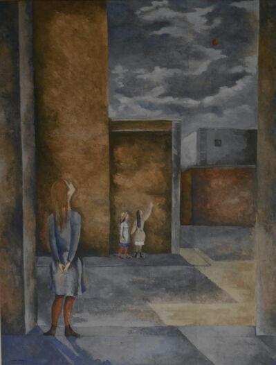 Ricardo Martinez, 'Tres Ninas Mirando Un Globo Rojo', 1944