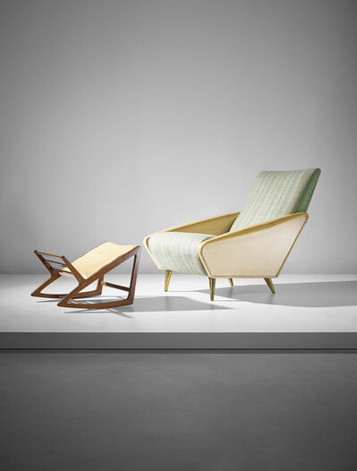 Gio Ponti, ''Distex' armchair, model no. 807, and rare footstool', ca. 1954