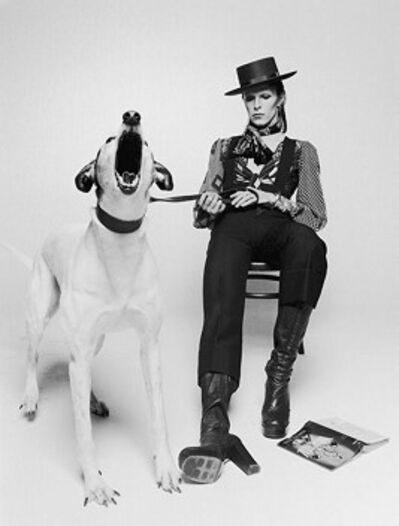 Terry O'Neill, 'David Bowie with Jumping Dog, view 2', 1974