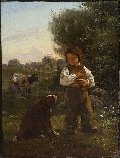 Carlo Eduardo Johan Dalgas, 'A boy with his dog, a milkmaid beyond', ca. 1845