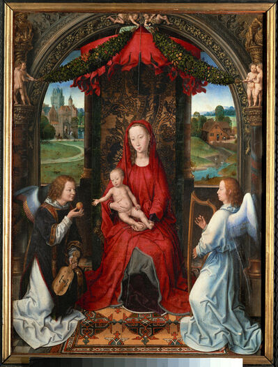 Hans Memling, 'Madonna and child, angel with violin in his hand; landscape with farmhouse and castle', ca. 1480