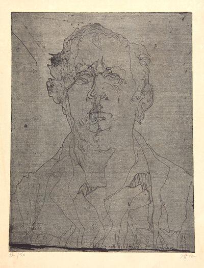 Horst Janssen, 'Selbstbildnis (heut nach Haselünne...)', 1971