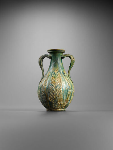 Unknown Roman, 'Ancient Roman Faience Amphora with Acanthus Leaves and Rosettes in Relief', 1st century A.D., Roman, Ro, Imperial.