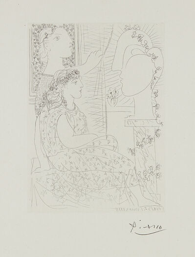 Pablo Picasso, 'Deux modèles vêtus (Two Dressed Models), plate 42 from La suite Vollard', 1933