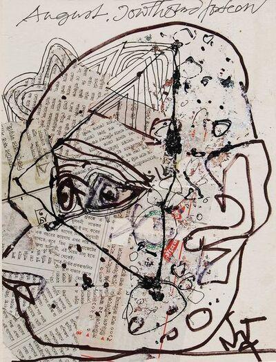 "Sunil Das, 'Head, Acrylic Newspaper Pigments Pen and Ink on Board by Padma Shree Artist Sunil Das ""In Stock""'"