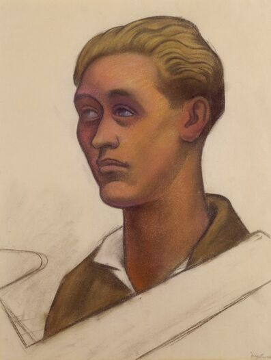 Diego Rivera, 'Untitled (Head of a young man with model airplane), study for the mural Allegory of California, Pacific Stock Exchange Luncheon Club, San Francisco', 1930-1931
