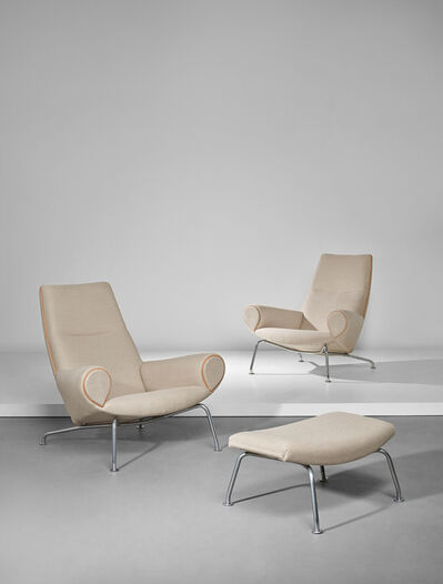 Hans Jørgensen Wegner, 'Pair of 'Ox' lounge armchairs, model no. AP-47 and stool, model no. AP-49', 1960