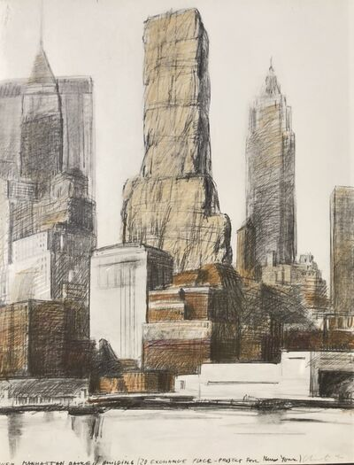 Christo, 'Lower Manhattan Packed Building, 20 Exchange Place, Project for New York', 1973