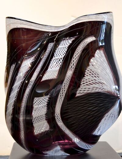 Massimiliano Schiavon, 'Untitled - Glass vessel with black stripes and white hatch marks', 2009