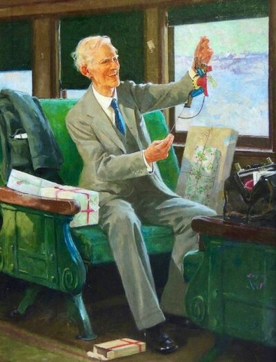 Eugene Iverd, 'Grandfather on a Train with Christmas Gifts'