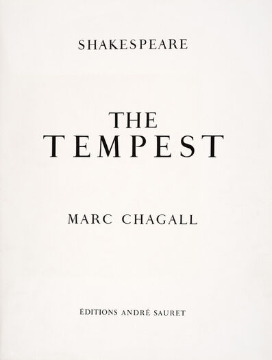 Marc Chagall, 'Titlepage for Shakespeare's The Tempest, illustrated by Marc Chagall', 1975