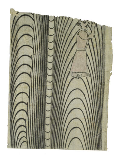 Martín Ramírez, 'Untitled (Black and White Pattern with Woman in Pink)', 1950-1955