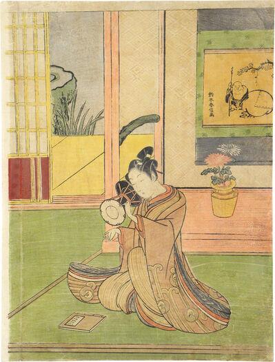 Suzuki Harunobu, 'Young Man Playing a Ko-Tsuzumi'