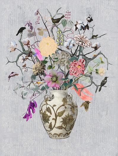 Jane Hammond, 'Korean Vase with Hyacinth Beans, Cotton and Chrysanthemum', 2016