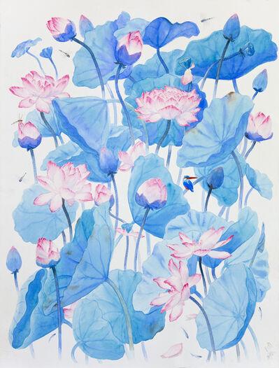 Suddhasattwa Basu, 'One Kingfisher under lotus leaves', 2009
