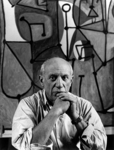 "Herbert List, 'Pablo Picasso at his studio in front of ""La Cuisine"". Paris (France), Rue des Grands Augustins', 1948"