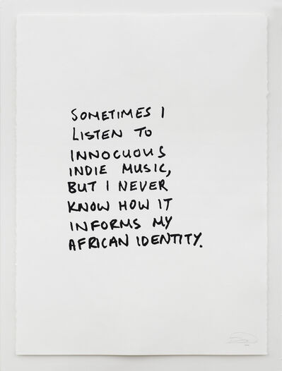 Rowan Smith, 'Sometimes I listen to Innocuous Indie Music, but I Never Know how it Informs my African Identity', 2012