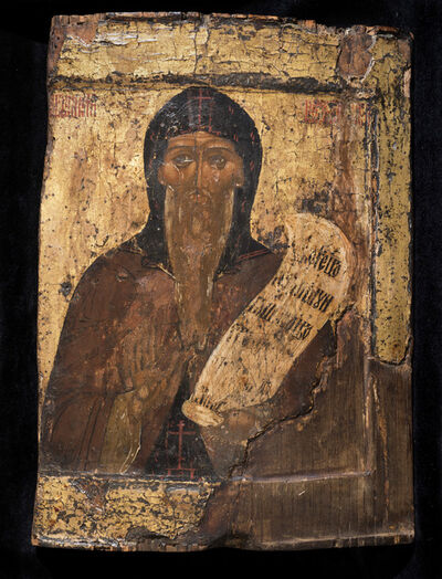 Icon, 'St Nikitas the Anchorite of Pereslavl', Early 16th century