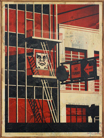 Shepard Fairey, 'SF Fire Escape HPM on Wood', 2011
