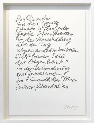 Günther Uecker, 'Das Einzelne und das Ganze', 2003