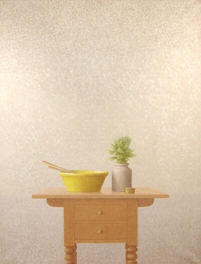 Xavier Valls, 'Mesita con cerámica amarilla y tarro con hojas de laurel', 1988