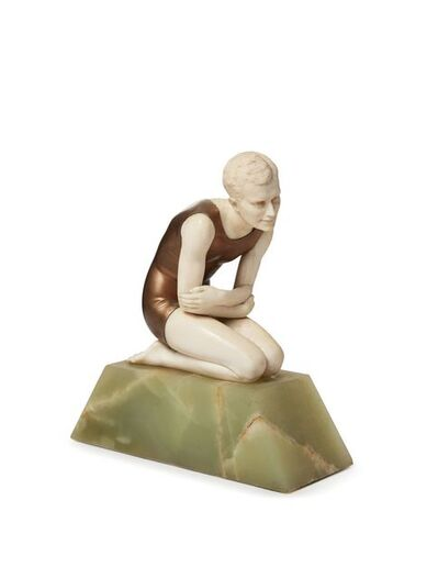 Ferdinand Preiss, ''Bather - kneeling male', a cold-painted bronze and ivory figure', c.1930
