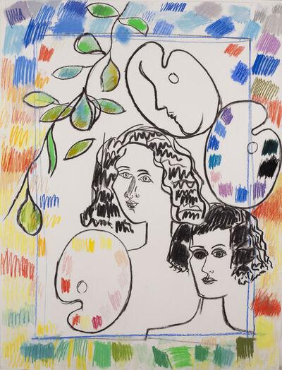 Fay Lansner, 'Heads Palette + Border', 1990