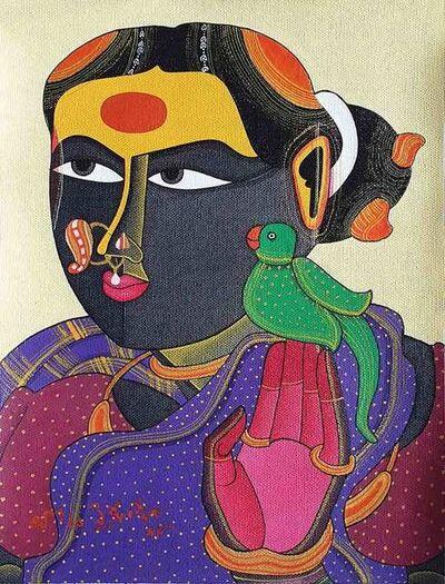 "Thota Vaikuntam, 'Telengana Woman, Acrylic on Canvas by Modern Artist ""In Stock""', 2018"
