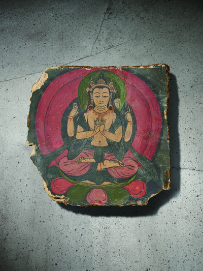 Unknown Tibetan, 'A Polychrome Fresco Fragment of Rectangular Form Painted with Shadhasuri Lokeshvara 西藏13|14世紀 灰泥彩繪四臂觀音圖壁畫殘部', Tibet: 13|14th century