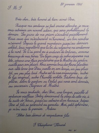Danh Vō, 'Last letter of Saint Théophane Vénard to his father before he was decapitated copied by Phung Vo', 2009