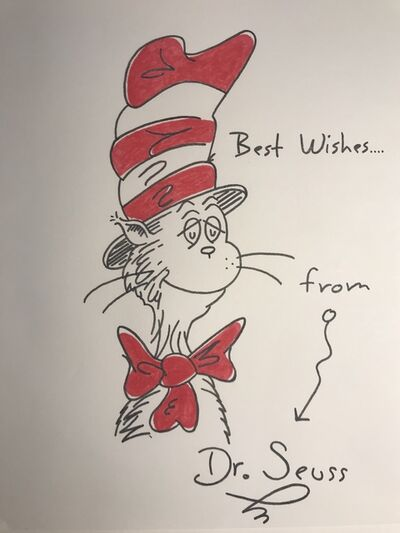 Dr. Seuss, 'Cat In the Hat - best wishes series - sketch', ca. 1980-1990