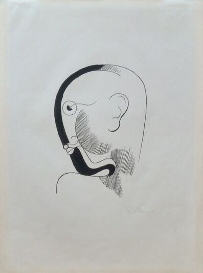 Oskar Schlemmer, 'Head in profile with Black Contours | Kopf im Profil, mit Schwarzer Kontur', 1920/21