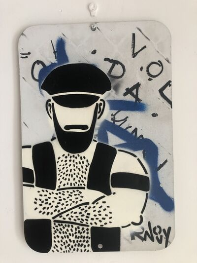 """Jeremy Novy, '""""Leather Guy"""" Stencil and Spray Paint on Metal Sign', 2019"""