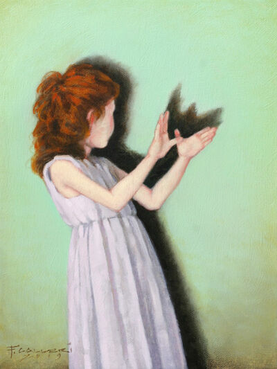 "Fred Calleri, '""Wings"" Oil painting of red headed girl with a green background making shadow butterfly with hands', 2019"