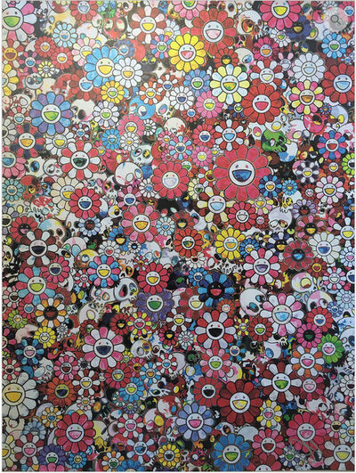 Takashi Murakami, 'Skulls and Flowers (red)', 2016