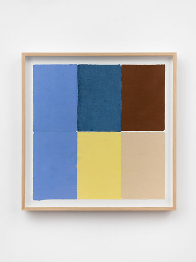 Ethan Cook, 'Two periwinkles, blue, yellow, brown, tan', 2020