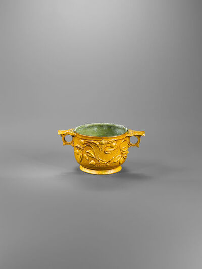 Unknown Roman, 'Ancient Roman Faience Skyphos with a Pomegranate Branch in Relief', 1st century A.D.