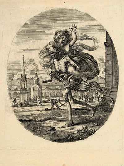Stefano Della Bella, 'Death carrying a child on his back', ca. 1648