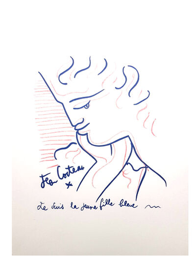 "Jean Cocteau, 'Original Lithograph ""Blue Young Girl"" by Jean Cocteau', 1958"