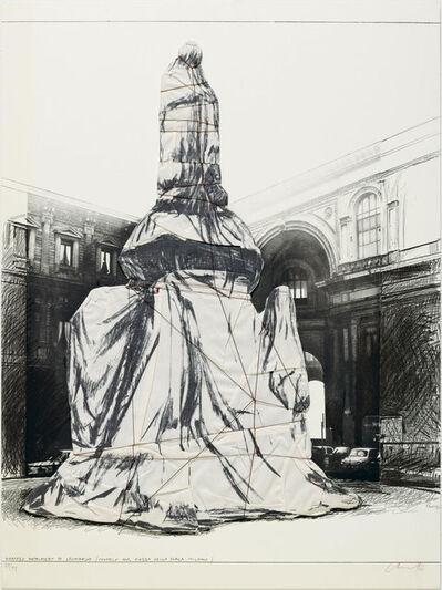 Christo, '3 sheets: Wrapped monument to Leonardo, project for the Piazza della Scala, Milan', 1971
