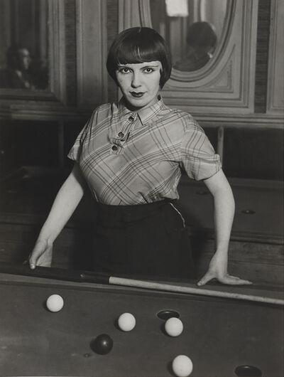 Brassaï, 'Fille de joie jouant au billard russe, boulevard Rochechouart, Montmartre (A prostitute playing Russian billiards, Boulevard Rochechouart, Montmartre)', ca. 1932