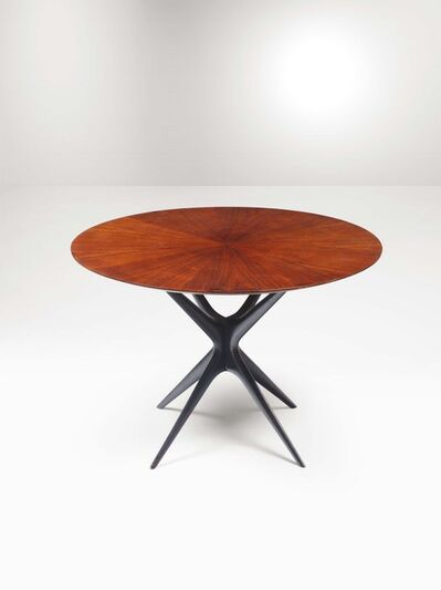 In the style of Ico Parisi, 'A table with a lacquered wood structure and a wood top', 1950 ca.